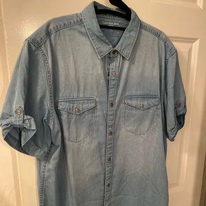 Men's Calvin Klein short sleeve jean shirt,large